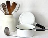 Vintage White Speckled Enamelware Saucepan