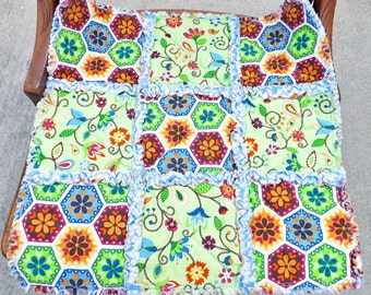 Rag Quilt Lovey - Security Blanket - Blue, Green - Baby Shower Gift - Baby Blanket - Baby Lovey