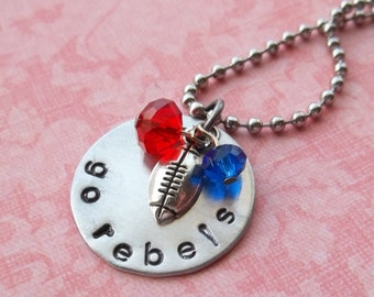 Hand Stamped Ole Miss Rebels Football Necklace