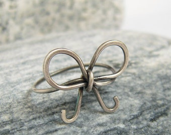 Cute Bow Ring, Oxidized Sterling Silver, Wire Wrapped Bow Knot, Rustic Jewelry