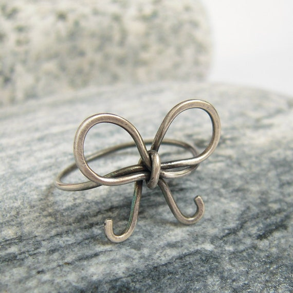 cute bow ring oxidized sterling silver wire wrapped bow