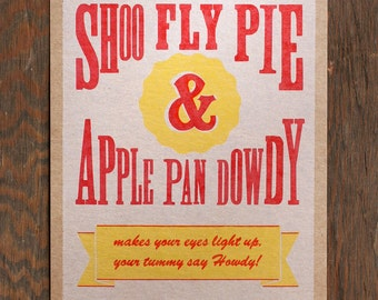 Shoo Fly Pie vintage kitchen decor letterpress print