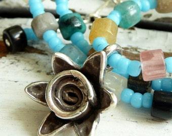 Summer Dune Flower Turquoise Seed Bead Multi Gemstone Karen Hill Tribe Flower Bohemian Gypsy Necklace