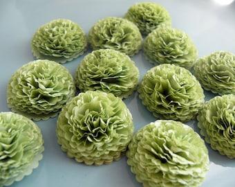 Button Mums Tissue Paper Flowers Aloe Green Wedding, Bridal Shower, Baby Shower Decor