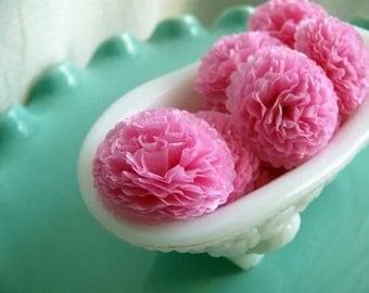 Button Mums Tissue Paper Flowers  1 inch Raspberry Pink  Wedding, Bridal Shower, Baby Shower Decor