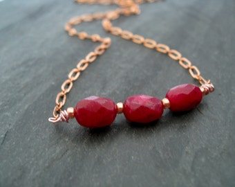 Ruby Necklace Rose Gold Love Gift for her Vitrine Under 75