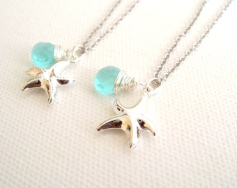 Starfish Necklace Seastar Silver necklace aqua Quartz Beach Ocean Sea Gift for her Under 45