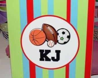 football clipboard, personalized clipboard, monogram clipboard, striped clipboard, sports clipboard, soccer clipboard, basketball clipboard