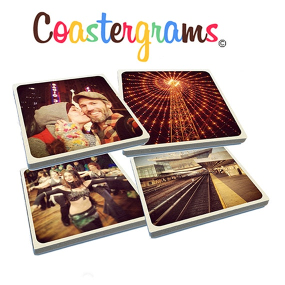 Set of four Instagrams on Stone Drink Coasters using your photos.