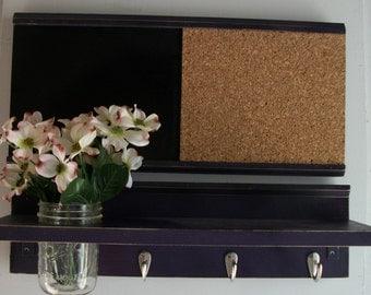Grape Purple Distressed Wood  Wall Shelf Cork & Blackboard Bulletin Board Message Center Hooks