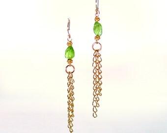 Peridot and Gold Chain Earrings
