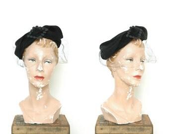 Vintage Felted Lazarus Hat -- 1940s Black Veiled Hat