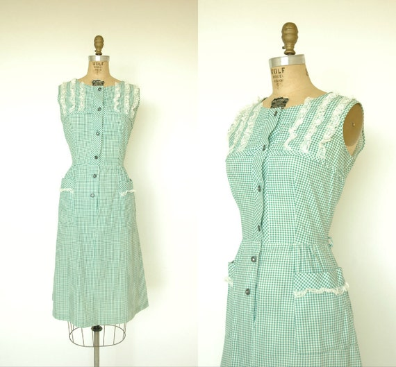 1940s Vintage Day Dress / Green Gingham by DalenaVintage on Etsy