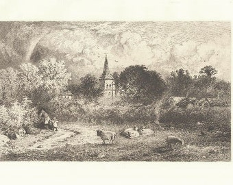 CHISELHURST COMMON by E P BRANDARD Antique Original Etching 1800s Victorian Era Antique Art Print [Inv#LndEth 38