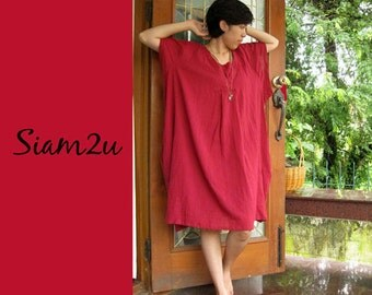 Custom Made Burgundy Cotton Boho  Loose Short Tunic  Dress one fit all most (H)