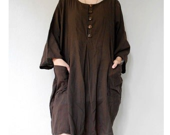 Custom Made Gray cotton Brown Cotton Short Loose Tunic Simple Dress Boho Blouse (H)