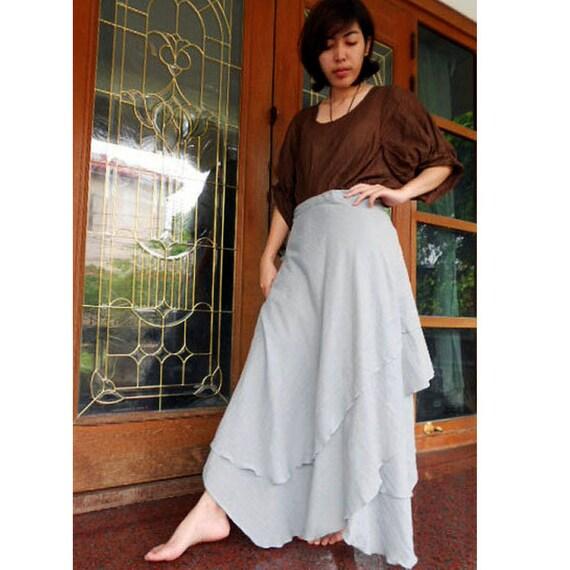 Custom Made Gray Cloud Cotton Boho Hippie Gypsy  Two Layers Circle Long Wrap Skirt  S-L (H)