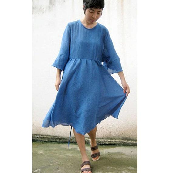 Custom Made Boho  Over sized Women Blue Cotton Tunic Casual Summer Dress S-L (H)
