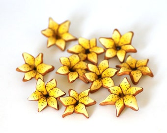 Yellow Lily Beads, Polymer Clay Beads, Sunny Flower Beads 10 pieces