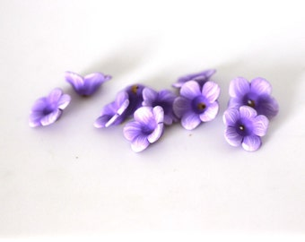 Petunia Beads, Polymer Clay Beads, Light Purple, Flower Beads 10 Pieces