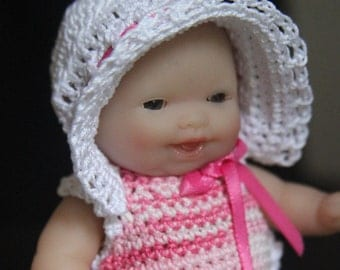 Crochet clothes outfit for Berenguer 5 inch baby doll Sunsuit Bonnet Pink White