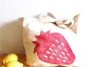 Strawberry hand stamped cotton canvas shopper bag