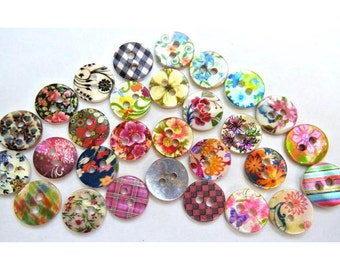 290 Shell buttons colorful ornament unique designs 11.5mm, GREAT for button jewelry