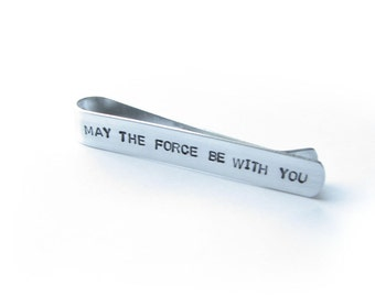 May the force be with you, Hand Stamped Personalized Tie Bar, Men Father Gift wedding Birthday