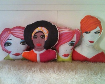 Pick a pillow person face portrait mod madmen afro or redhead