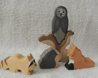 Woodland Animals wooden waldorf style