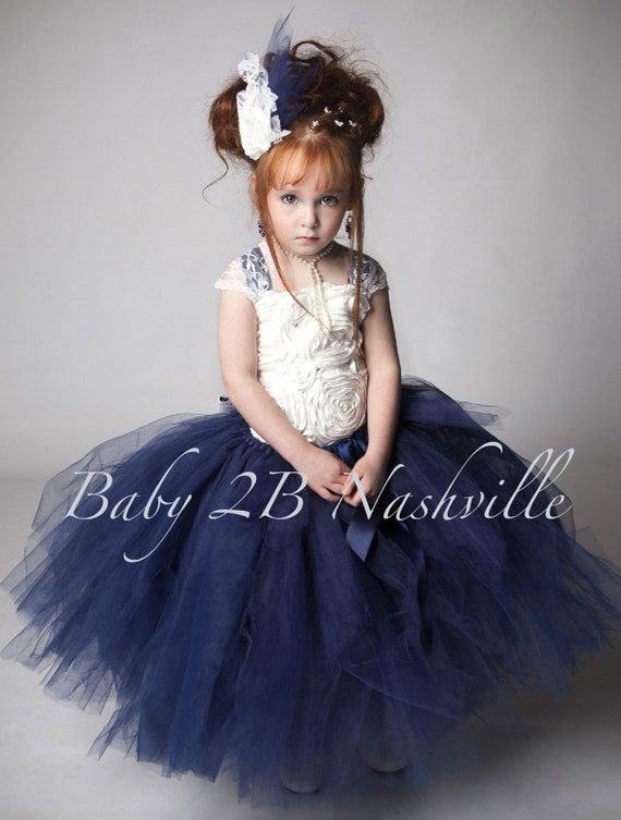 Items similar to Navy Flower Girl Dress- Ivory Flower Girl Dress ...