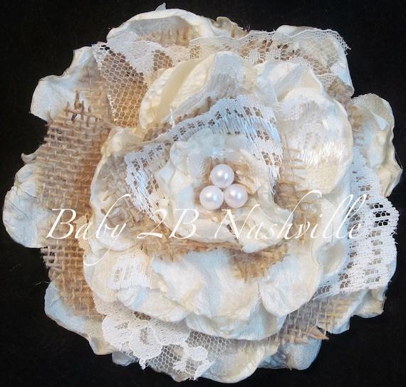 Rustic Wedding Hair Accessory, Burlap Lace Rose Hair Accessory, Handmade Lace Cabbage Rose with matching headband to match your tutu