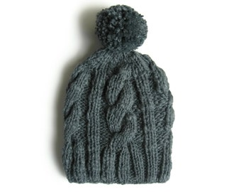 Pom Hat - Woman Beanie - Knit Cables with Pompom in Gray Wool
