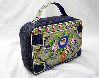 SALE now 35.00 Vintage SOLID BEADED Cosmetic-Travel Bag-All Glass Seed Beads-Floral Pattern-Never Used-Perfect