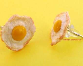 Egg earrings - egg jewelry - food jewelry - food earrings - eggs - breakfast jewelry - breakfast earrings - miniature food- egg posts