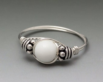White Agate Bali Sterling Silver Wire Wrapped Bead Ring - Made to Order, Ships Fast!