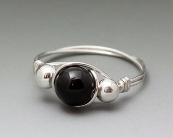 Black Schorl Tourmaline Sterling Silver Wire Wrapped Bead Ring - Made to Order, Ships Fast!
