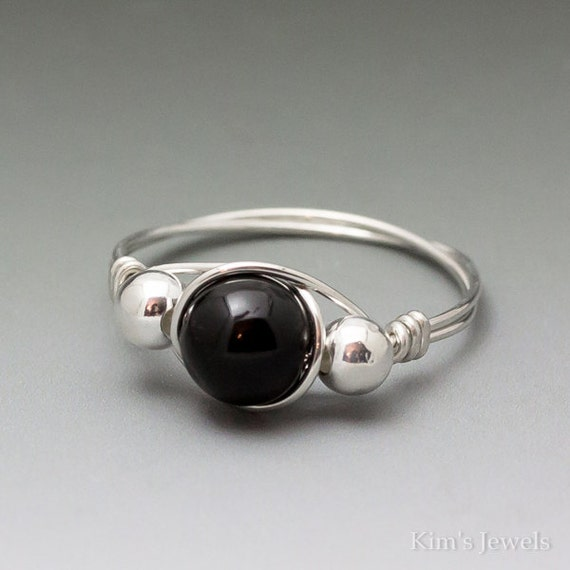 Black Schorl Tourmaline Sterling Silver Wire Wrapped Ring ANY size