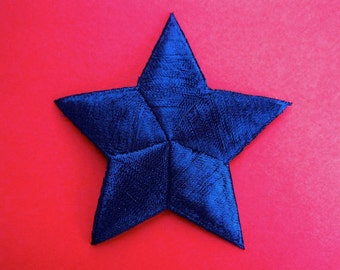 Large Blue Star Embroidered Patch, Badge or Appliqué, 2-7/8 Inch Iron-On or Sew-On Patch