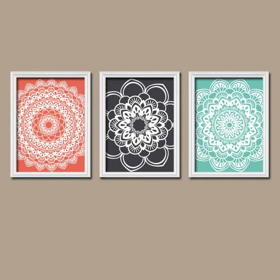 Coral Navy Turquoise Wall Art Bedroom Canvas Or By Trmdesign