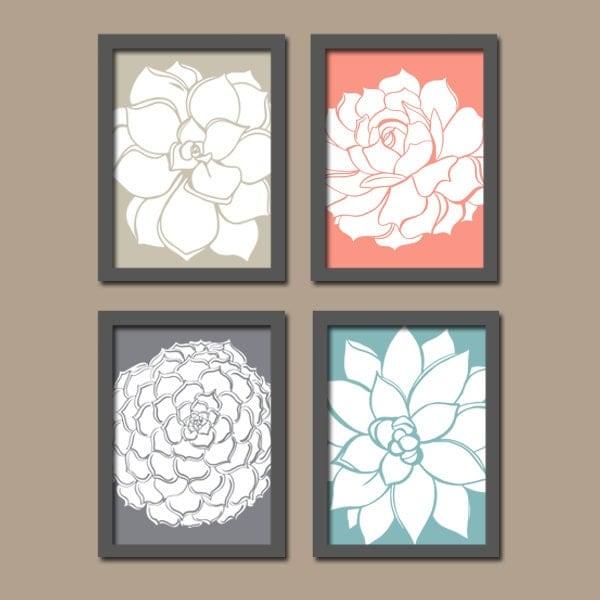 CORAL GRAY Wall Art CANVAS Or Print Floral ArtworkOrganic