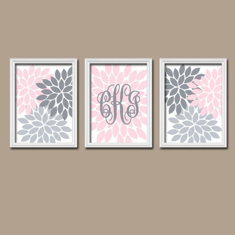 Pink gray nursery wall art girl monogram decor baby by for Wall artwork paintings