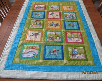 Large In the Park Crib Quilt in Blues, Greens, Yellows and Oranges