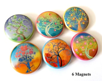 Nature Trees Leaves Flowers 1 inch refrigerator MAGNETS fall autumn mod retro six stockings stuffers party favors shower gifts office flair