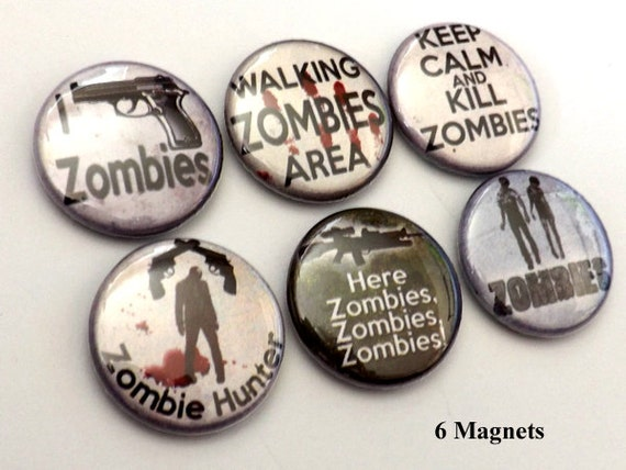 Zombie Hunter refrigerator MAGNETS keep calm kill scary goth creepy macabre horror stocking stuffer party favors dead gift pinback geek gift