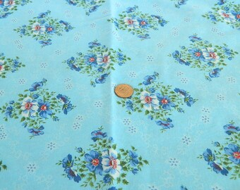 Sale--Vintage Cotton Fabric- Blue flowers--Sale
