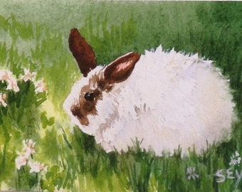 """Original ACEO Watercolor Painting -Rabbit Bunny -2 1/2"""" x 3 1/2"""" - Artist Trading Cards - Art Cards - Fine Art - Easter Gift"""