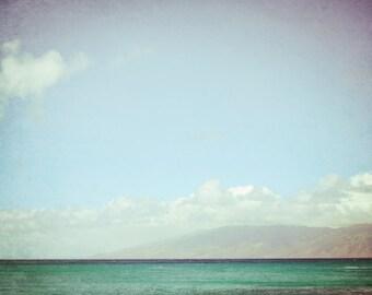 "Beach ocean photography print, minimal seascape teal aqua blue Hawaii wall art ""Big Sky"""