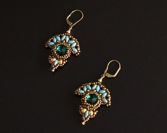 Brass Plated Lever-Back Earrings with Swarovski Crystal Emerald Stone Beaded with Bronze, Gold and Turquoise Beads. Art Deco Fan Shape S196