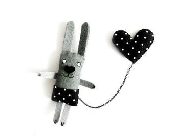 Bunny Brooch -Black Heart - Animal pin